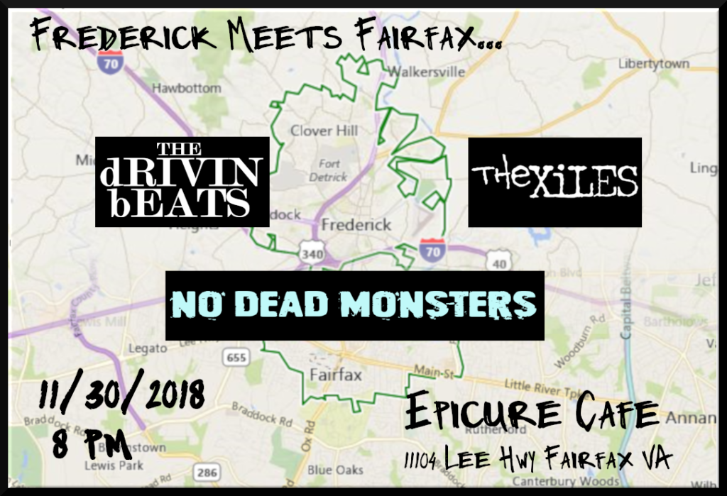No Dead Monsters, The dRIVIN bEATS, The Xiles show flyer